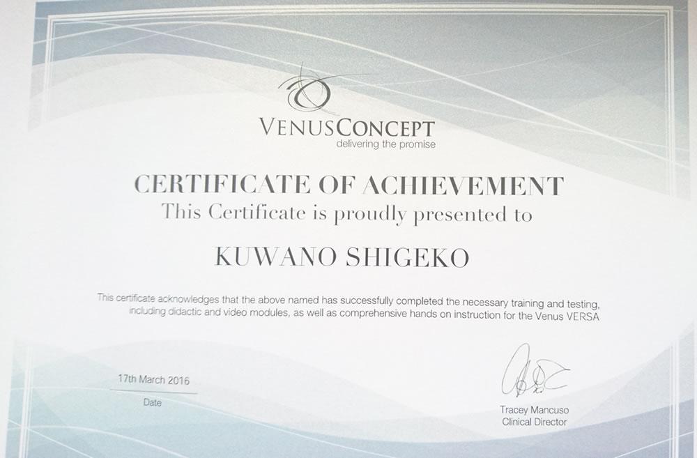 Venus Concept Certificate